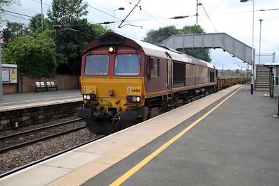 66016 2154/6T60 Carlisle-Church Fenton heads south through Chester Le Street. 23/06/12