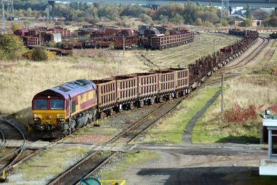 66102  sits on a rake of steel wagons in Tees Yard  20/10/12.