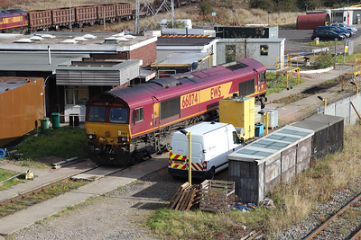 66074 sits on Tees Yard Fuel Point after working in on the 4n08 ex Drax, 20/10/12.