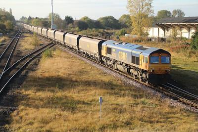 66702 1020/4N36 Drax-Tyne Dock passes Eaglescliffe  20/10/12.
