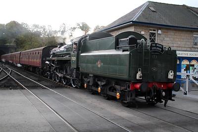 Steam No 75029 arrives at Grosmont NYMR  20/10/12.