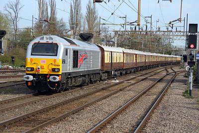 67006 TnT 67026 0900/1z58 Victoria-Runcorn passes through Northampton Station 14/04/12