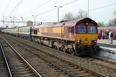 66063 TnT 66138 0933/1z44 Woking-Seaforth 'Olive Branch Railtour' passes through Northampton Station 14/04/12