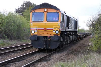 66723 1645/4L20 Hams Hall-Parkeston Quay passes Norwood Road crossing.