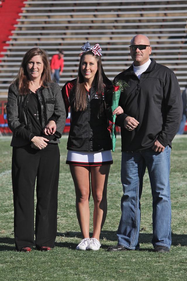 The Gardner-Webb Senior Cheerleaders were recognized during half time. Brooke Galyan