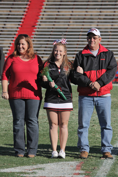 The Gardner-Webb Senior Cheerleaders were recognized during half time. Blair White