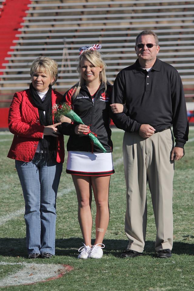 The Gardner-Webb Senior Cheerleaders were recognized during half time. Ashton Malloch