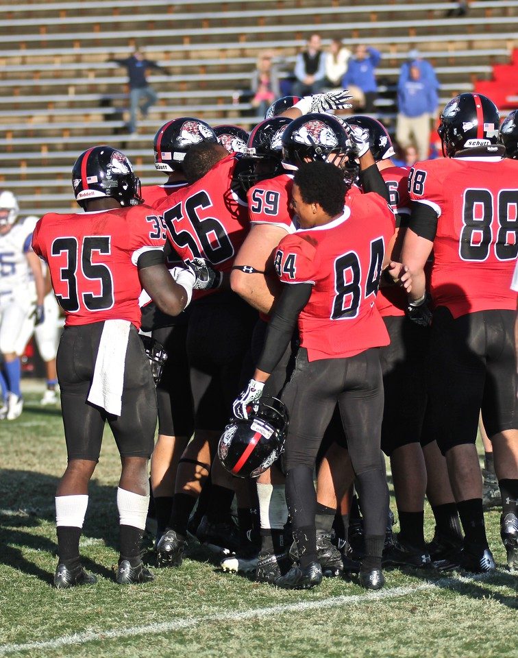 GWU celebrates after their win over Presbyterian College 21-15