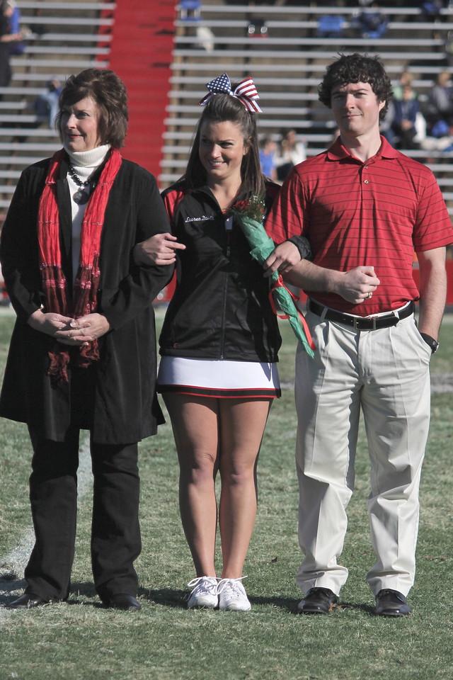 The Gardner-Webb Senior Cheerleaders were recognized during half-time. Lauren Davis