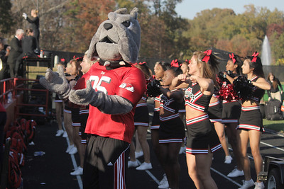 The Gardner-Webb cheerleaders cheer for the Runnin' Bulldogs
