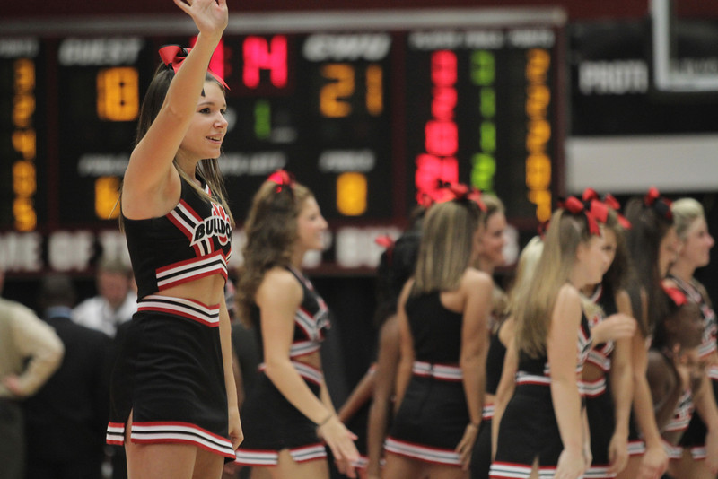 Cheerleader, Sarah Slate cheers on the Runnin' Bulldogs during a time out