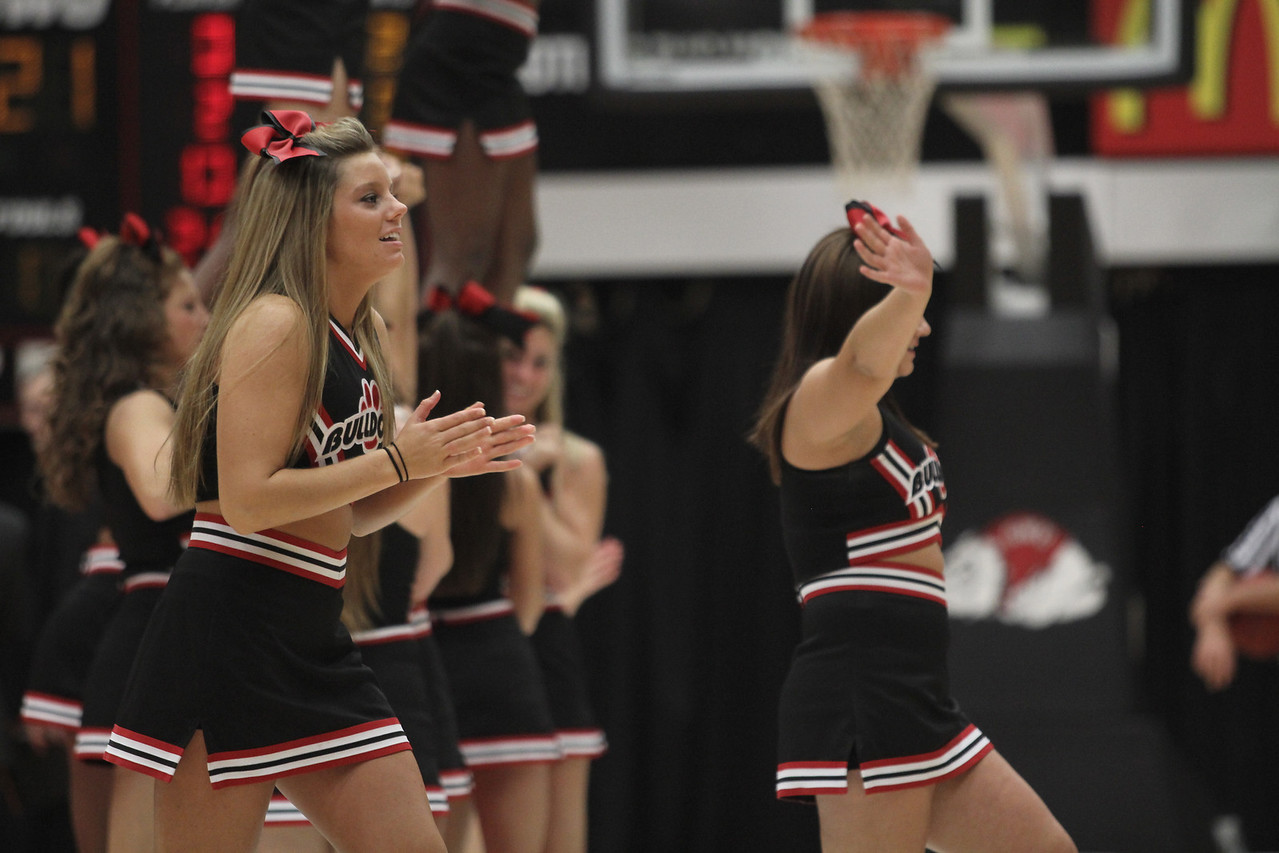 Cheerleader, Carson Strange cheers on the Runnin' Bulldogs during a time out