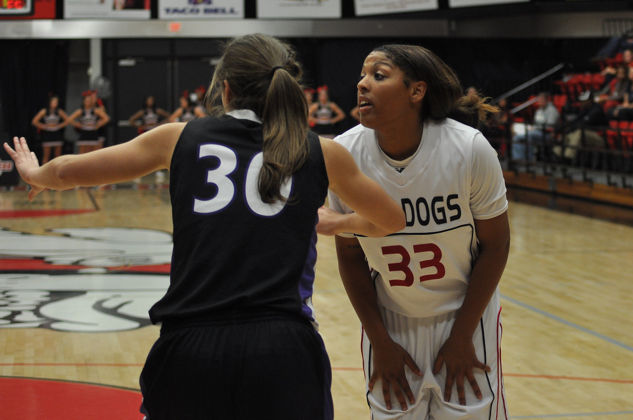 Jasmine Dale prepares for an inbound play as the Lady Bulldogs face off against Lipscomb University, Friday November 9, 2012 in the LYCC.