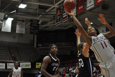 Olivia Parker drives to the basket against Lipscomb University, Friday November 9, 2012 in the LYCC.
