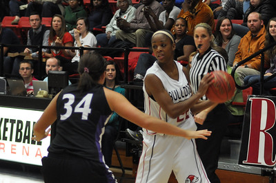 Candace Brown handling the ball against Lipscomb University, Friday November 9, 2012 in the LYCC.