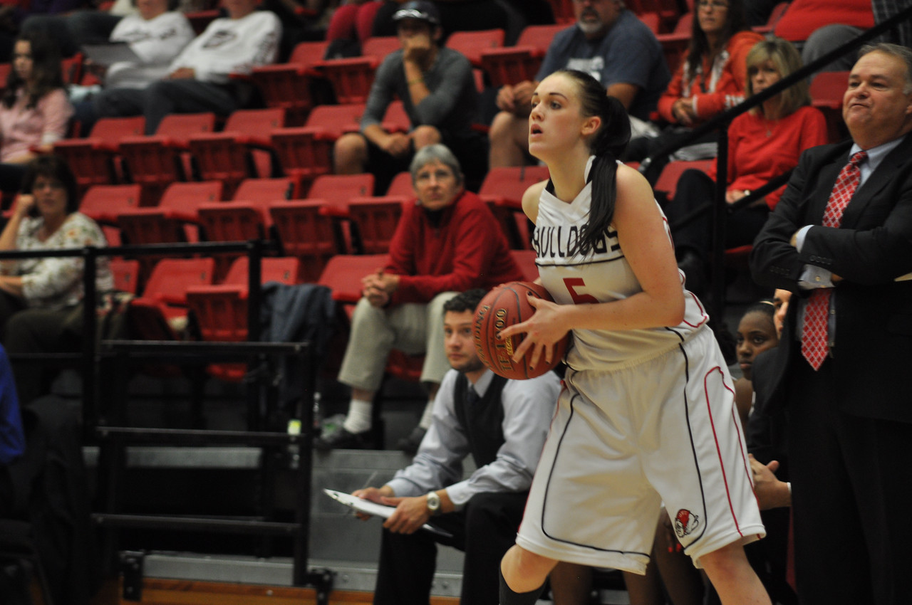 Lana Doran sees the court in the game against Lipscomb University, Friday November 9, 2012 in the LYCC.