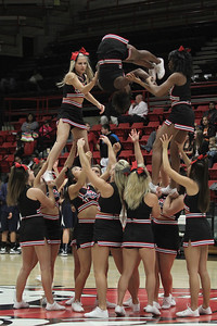 The Gardner-Webb Cheerleaders perform a stunt pyramid during a time out
