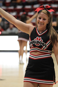 Cheerleader, Blair White cheers on the Runnin' Bulldogs during a time out
