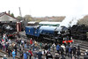 25 November 2012 :: Emerging from the shed at the Didcot Railway Centre being watched by a crowd of enthuiasts, LNER A1 Class 4-6-2 no 60163 Tornado in its new BR blue livery