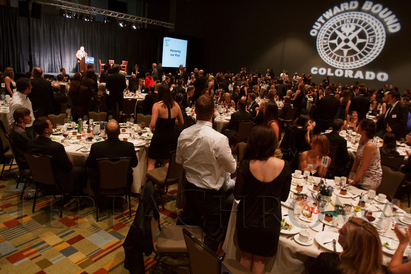Inside the ballroom for the dinner program.  Colorado Outward Bound School Black Tie and Tennis Shoe Bucket List Gala, celebrating the COBS 50th anniversary, at the Hyatt Regency Denver at the Colorado Convention Center in Denver, Colorado, on Wednesday, Nov. 14, 2012.<br /> Photo Steve Peterson