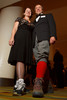 Michelle Barnes and Rick Taylor (in knee socks and wool knickers).  Colorado Outward Bound School Black Tie and Tennis Shoe Bucket List Gala, celebrating the COBS 50th anniversary, at the Hyatt Regency Denver at the Colorado Convention Center in Denver, Colorado, on Wednesday, Nov. 14, 2012.<br /> Photo Steve Peterson