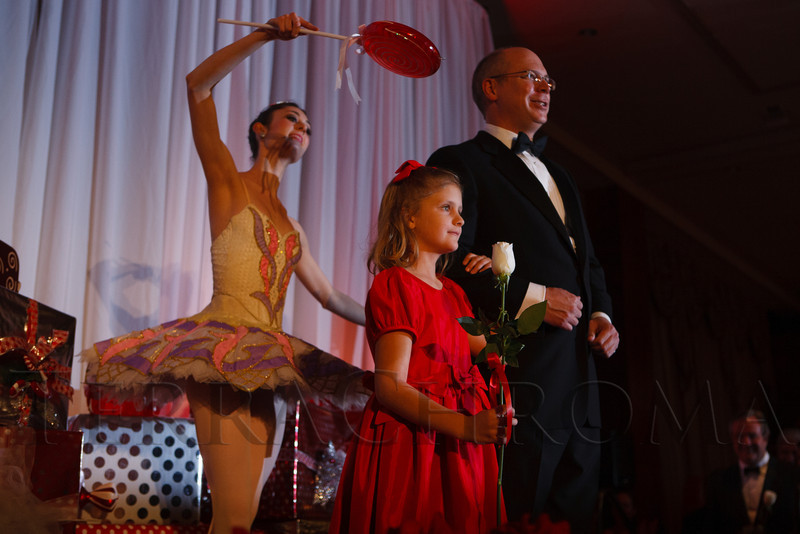 Audrey Logan, escorted by her father, Steve.  The Sugarplum Ball, benefiting the Colorado Ballet Auxiliary, at the Brown Palace Hotel & Spa in Denver, Colorado, on Friday, Nov. 23, 2012.<br /> Photo Steve Peterson