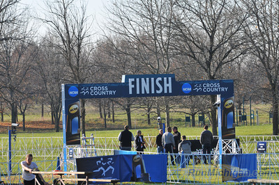 Workers prepare the finish line area at the 2012 NCAA Division One Cross Country Championships being held on November 17 in Louisville, KY. (RunMichigan.com/Dave McCauley)