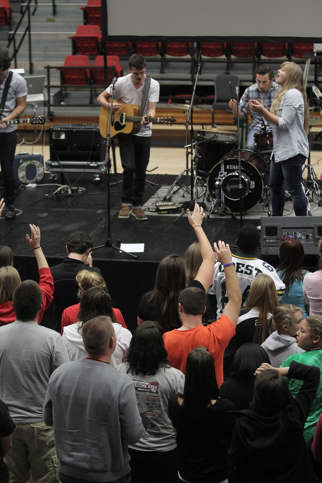 Students and community gathered at the stage to worship and praise the Lord at Fields of Faith