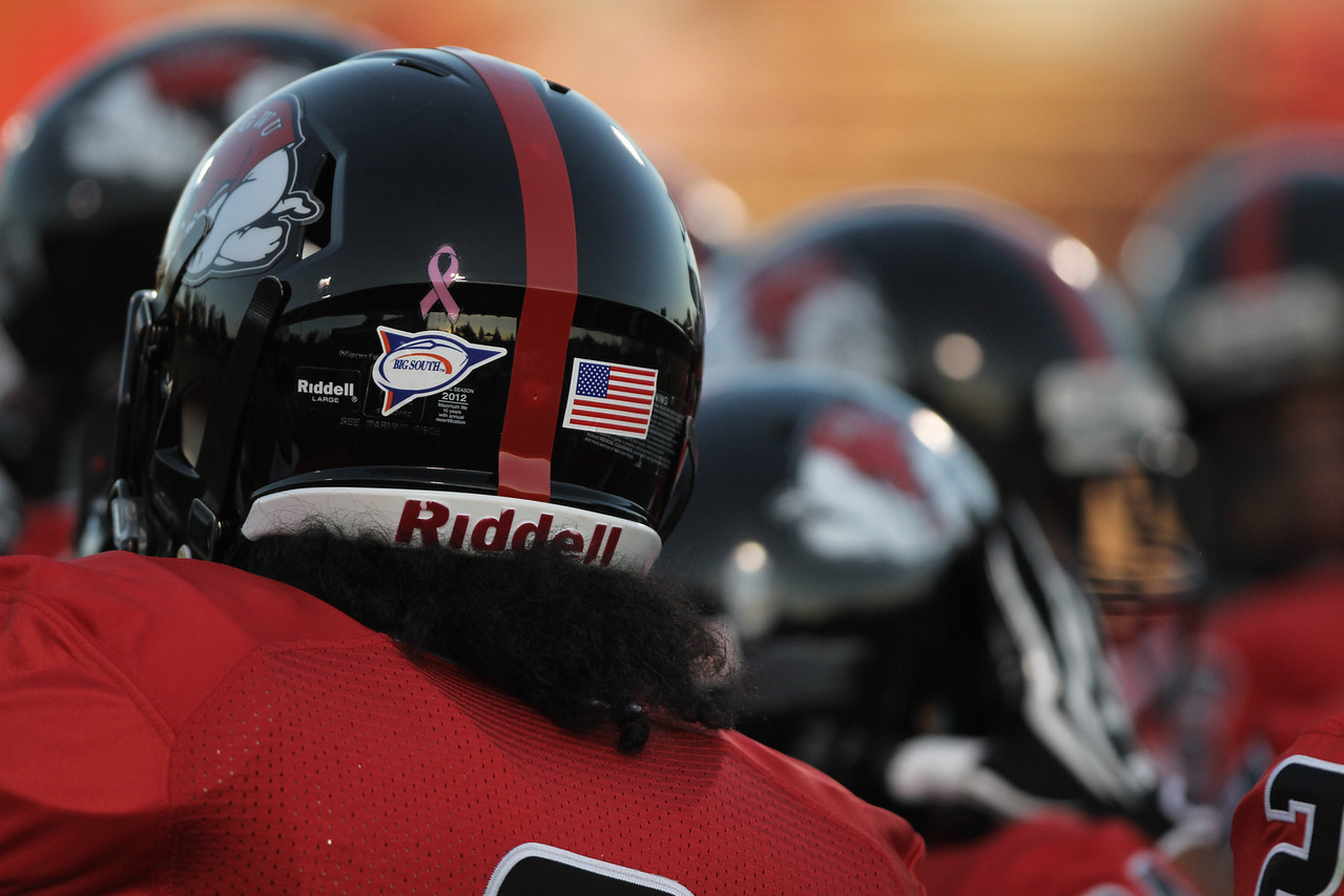 A little pink ribbon was placed on the back of the player's helmets in support for breast cancer awareness month
