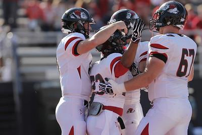 The Runnin' Bulldogs rejoice after the touchdown
