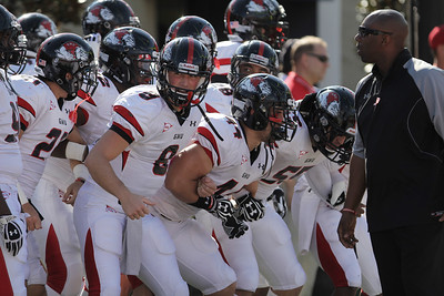 The Gardner-Webb Runnin' Bulldogs getting pumped before the game against Liberty