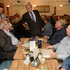 Tribune-Star/Joseph C. Garza<br /> Just enough time for a cup: Indiana's Democratic candidate for governor, John Gregg, center, greets a table of lunch time diners during a stop at the Coffee Cup Thursday.
