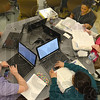 Tribune-Star/Jim Avelis<br /> Working together: A collaborative model is employed in the Ivy Tech Community College-Wabash Valley School of Nursing. Here students(from upper right) Christina Tompkins, Tessa Johnson, Juhi Beri, Randi Wagner and Brittney Shock work on their laptops.