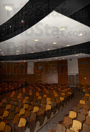 Tribune-Star/Joseph C. Garza<br /> For better sound: One of the acoustic ceiling panels in the Terre Haute North auditorium.