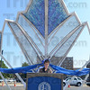 "Tribune-Star/Jim Avelis<br /> Latest addition: Mary Kramer talks about the process that lead to the creation and installation of the sculpture ""Renewal"" at Meis Plaza at the corner of Fifth and Cherry Streets."