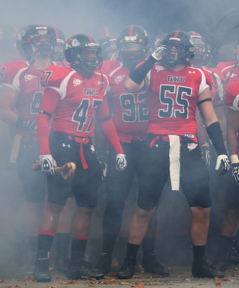 GWU gets ready to run onto the field