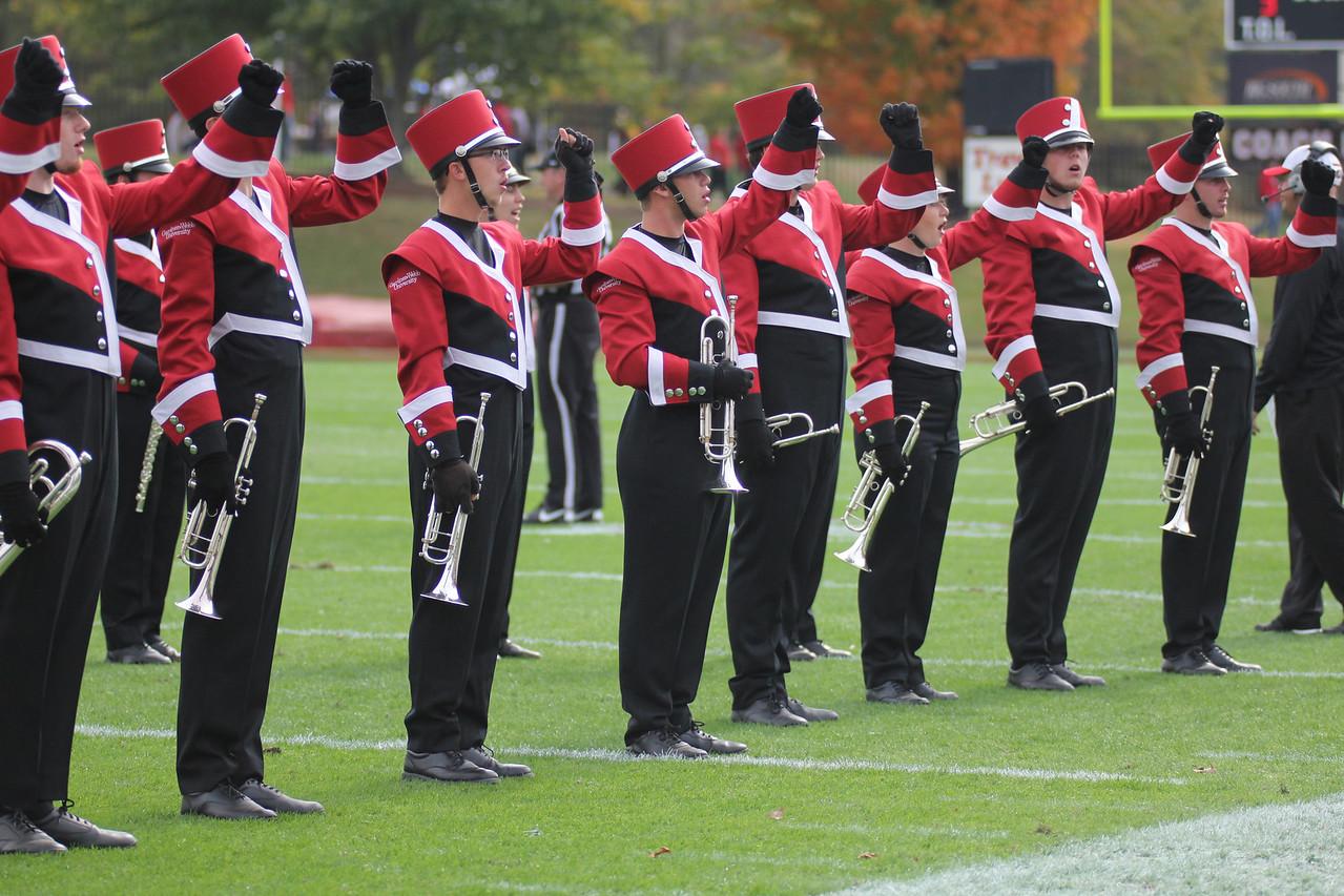 GWU band cheers on the Runnin' Bulldogs