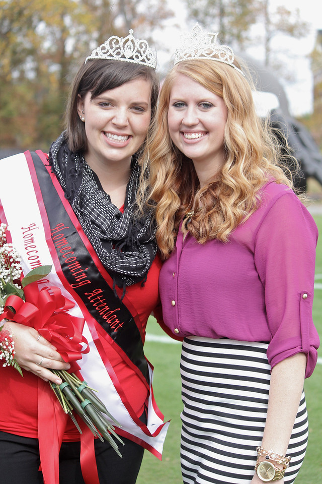 2012-2013 Homecoming Queen, Sara Phillips and 2011-2012 Homecoming Queen, Jordan Love.