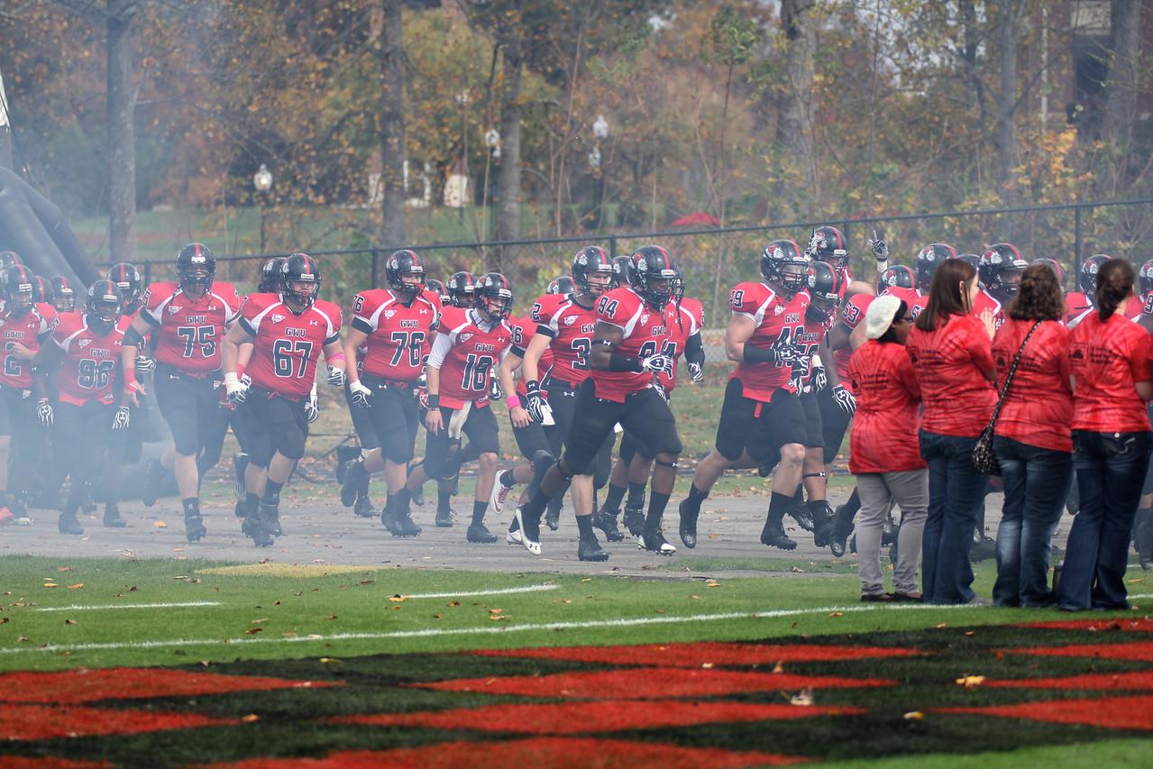 GWU runs onto the field
