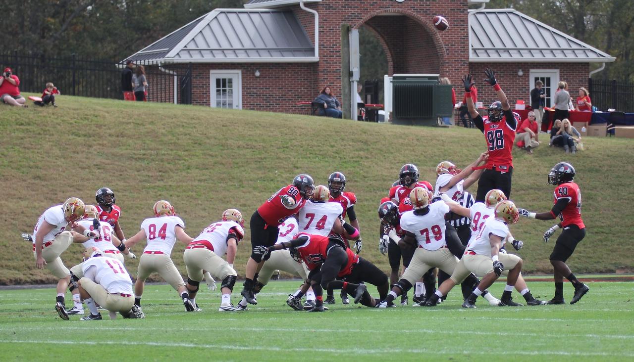 GWU attempts to block a field goal