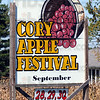 Sign: Detail of the Cory Apple Festival sign.
