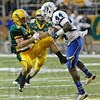 Indiana State's Larry King intercepts a pass intended for North Dakota State's Ryan Smith Saturday, Oct.13, 2012, at the Fargodome. David Samson / The Forum