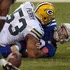 Ups and downs: Indianapolis quarterback Andrew Luck watches the ball roll into the hands of a Green Bay defender after he was sacked during the Colts' game against the Packers Sunday in Indianapolis.