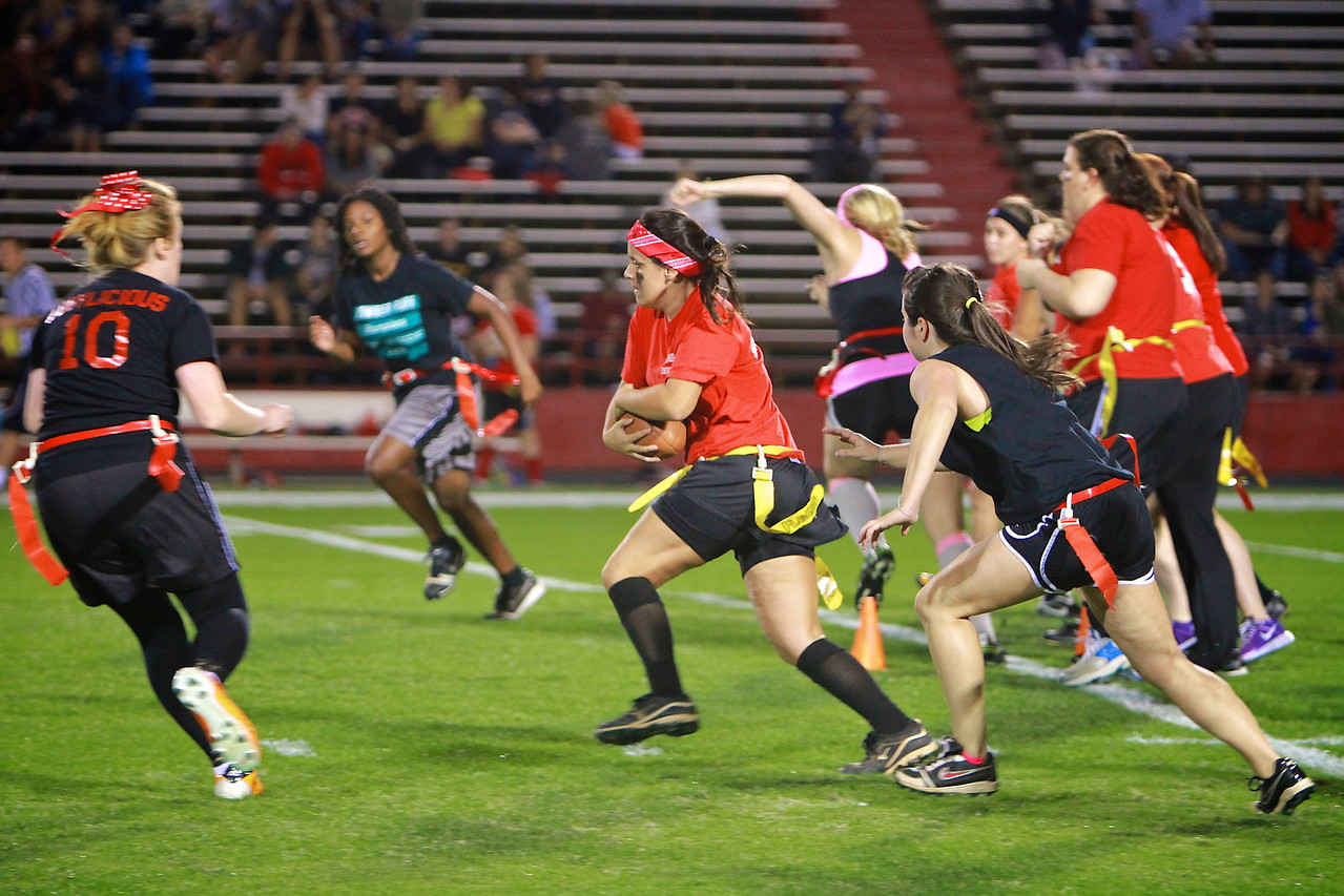 The annual Powder Puff Flag Football game; Fall 2012.