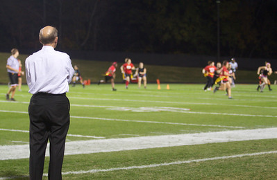 Dr. Bonner looks on as North Side women battle South Side during Homecoming week at Gardner-Webb.