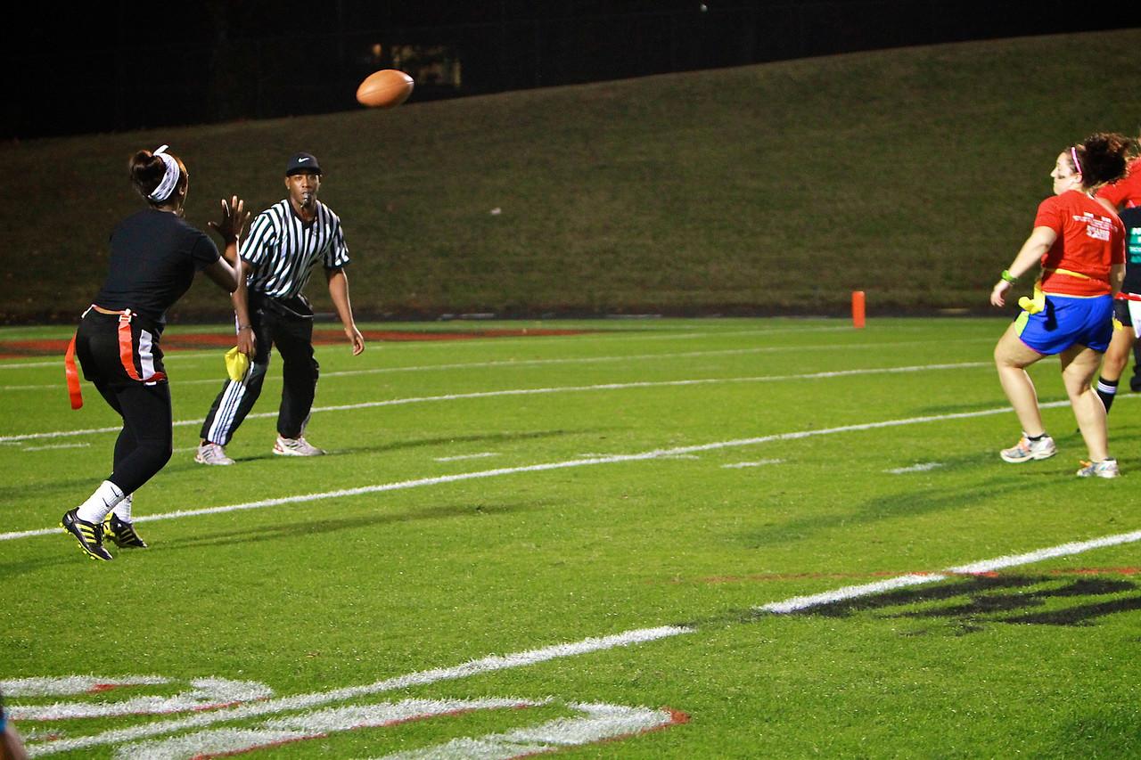 The annual Powder Puff Flag Football game; Fall 2012.