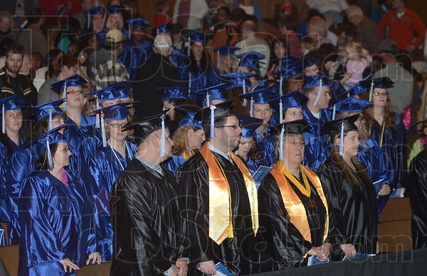 Tribune-Star/Jim Avelis<br /> Pomp and circumstance: Harrison College held Commencement ceremonies Friday night at Terre Haute North High School.