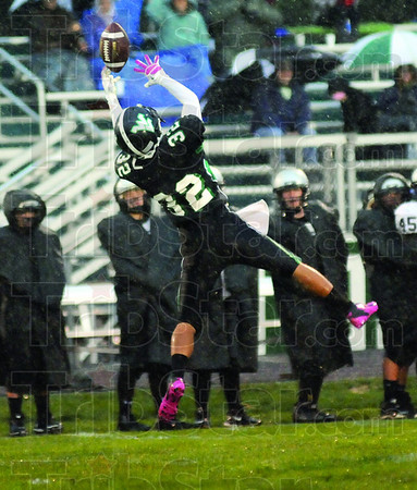 Tipped: West Vigo defender #32, Andy Velazquez gets his hands on a ball intended for Northview receiver #11 Hunter Ragan. Ragan eventually caught the ball for a reception near the 50 yard line during first half action.