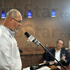 In the spotlight: Union Hospital Chief Medical Officer Dr. John A. Bolinger speaks during Friday's news conference dealing the the tainted medicine recall.