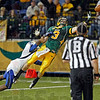 North Dakota State University's Trevor Gebhart just misses a touchdown reception over Indiana State's Calvin Burnett late in the game Saturday, Oct.13, 2012, at the Fargodome. David Samson / The Forum